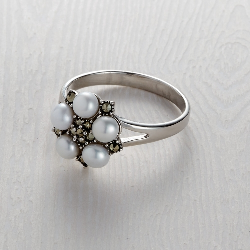Freshwater Marcasite 5 Pearl Ring